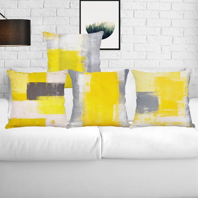 New Geometric Cushion Yellow Decoration Graffiti Art Digital Print Fabric Linen Pillow Modern Sofa Almofada For Creative Gift