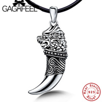 Hot Sale 100 Real Pure 925 Sterling Silver Men Jewelry Dragon With Wolf Teeth Necklaces Pendants