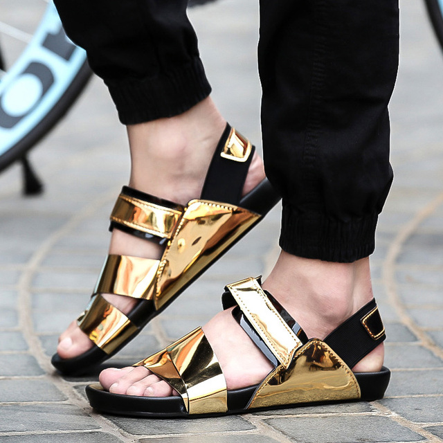2c8f8982738403 New 2018 Summer Male Sandals Men Gold Leather Shoes Open Toe Sandals  Slippers Fashion Casual Beach Gladiator Sandals Flat-in Men s Sandals from  Shoes on ...