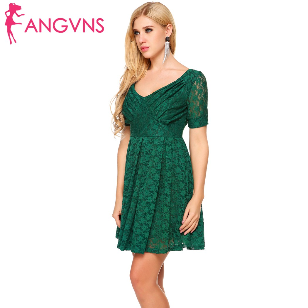 ANGVNS Women Vintage Style Lace A-Line Dress Party Floral Short Sleeve Mini Skater  Dress Prom Slim Vestidos Evening Femme Robe 9acfa418b