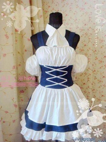 Nouveau! Anime Chobits Chii Cosplay gothique Lolita maison robe de chambre Costume S-L ou sur mesure n'importe quelle taille