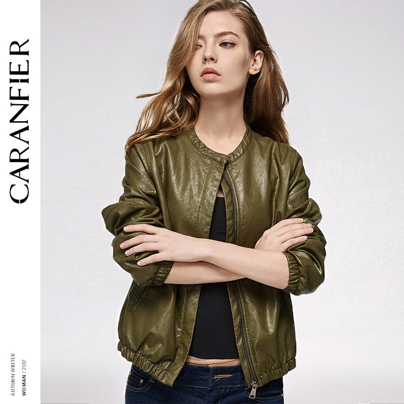 CARANFIER   Leather   Jacket Women Baseball Jacket Locomotive PU Coat Fashion 2017 Autumn Winter Women Slim Short   Leather   Outerwear