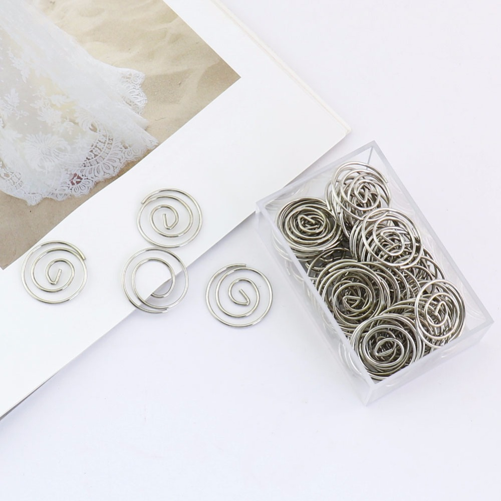 TUTU 50pcs/box Geometric Polygon Circle Metal Paper Clip Bookmark Stationery School Office Supply Escolar Papelaria H0213