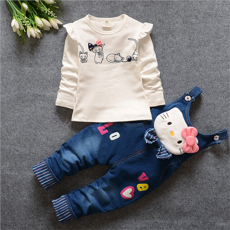 BibiCola Baby girls Clothing Sets Spring Autumn Girls Clothings Cartoon Fashion Kids clothing sets T-shirt+Pants