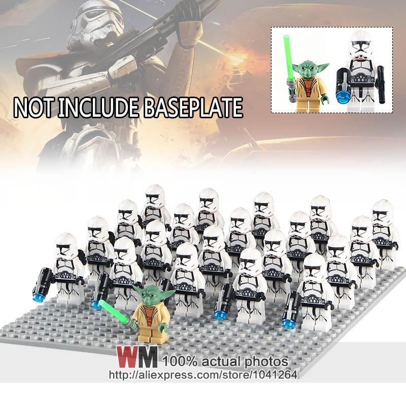 Blocks Honest Wm1011 21pcs/lot White Clone Soldiers Xh634 Yoda Pg698 Army Troops Bricks Building Blocks Children Gifts Toys Toys & Hobbies