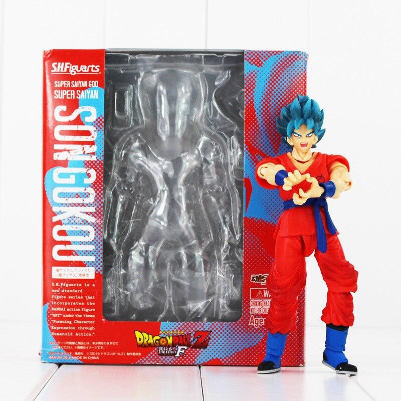 16cm Anime Dragon Ball Z Goku Action Figure Son Gokou SHFiguarts Super Saiyan God Resurrection F Model Doll
