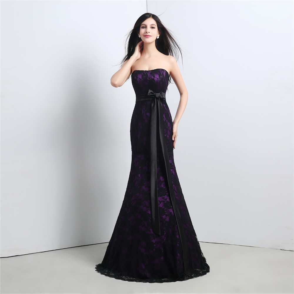 black lace mermaid evening dresses with bow ribbon belt strapless robe de soiree longue 2017. Black Bedroom Furniture Sets. Home Design Ideas