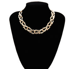 Punk Miami Cuban Choker Necklace Collar Statement Hip Hop Big Chunky Aluminum Golden Thick Chain Necklace Women Jewelry Dropship(China)