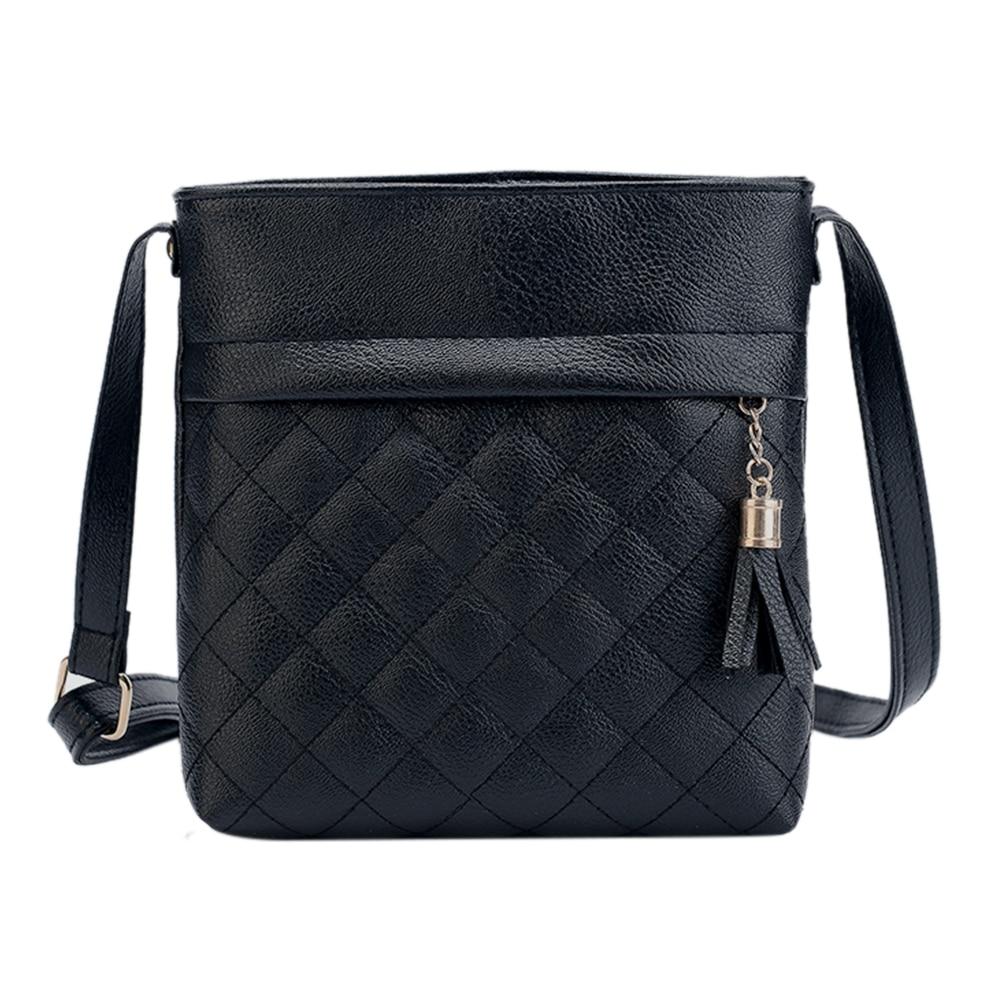 2018 Fashion Kleine Quaste Tasche Frauen Messenger Bags Gitter Damen Crossbody Beutel Weicher Pu-leder Mini Handtasche Bolsa Feminina