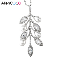 AllenCOCO Simulated Pearl&Leavies Plam Pendant Necklace CZ Diamonds Link Chain Choker Necklace For Engagement Women Jewelry Gift