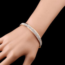 Luxury Crystal Bracelets For Women Gold Silver Bracelet Bangles Femme Open Bangle Cuff Fashionable Classic Beautiful Accessories(China)