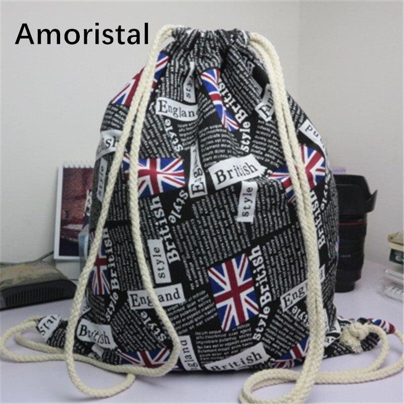 Drawstring Bag Retro Black British Flag Drawstring Backpack Shoulder High Schoolgirl String Bags G001
