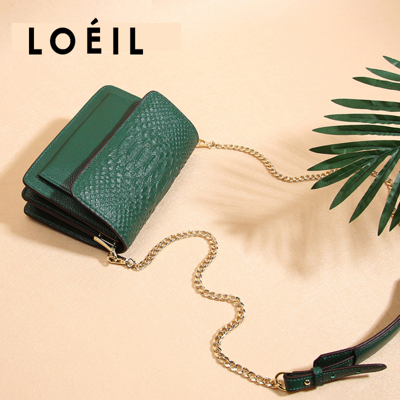LOEIL The first layer cowhide bag female 2018 new tide leather handbags slung shoulder bag chain small square bag ladies bag bag female 2018 new fashion sequins convenient bread bag chain small square bag shoulder slung dinner bag