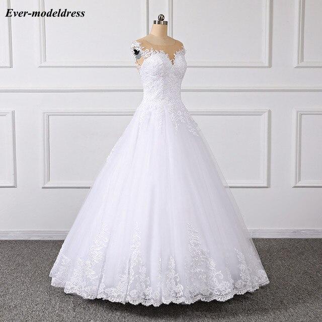 Купить кружевное свадебное платье принцессы 2019 бальное с иллюзией картинки цена