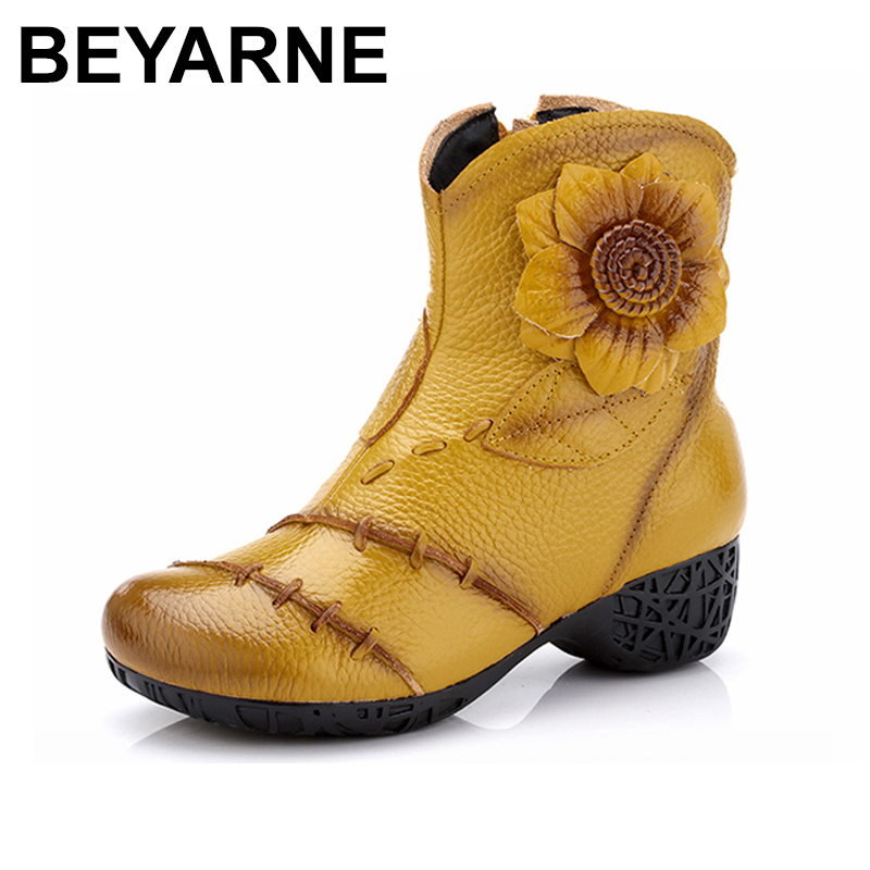 BEYARNE Women Genuine Leather Boots 2018 Winter Fashion High Quality Soft Bottom Med Heels Ankle Boots