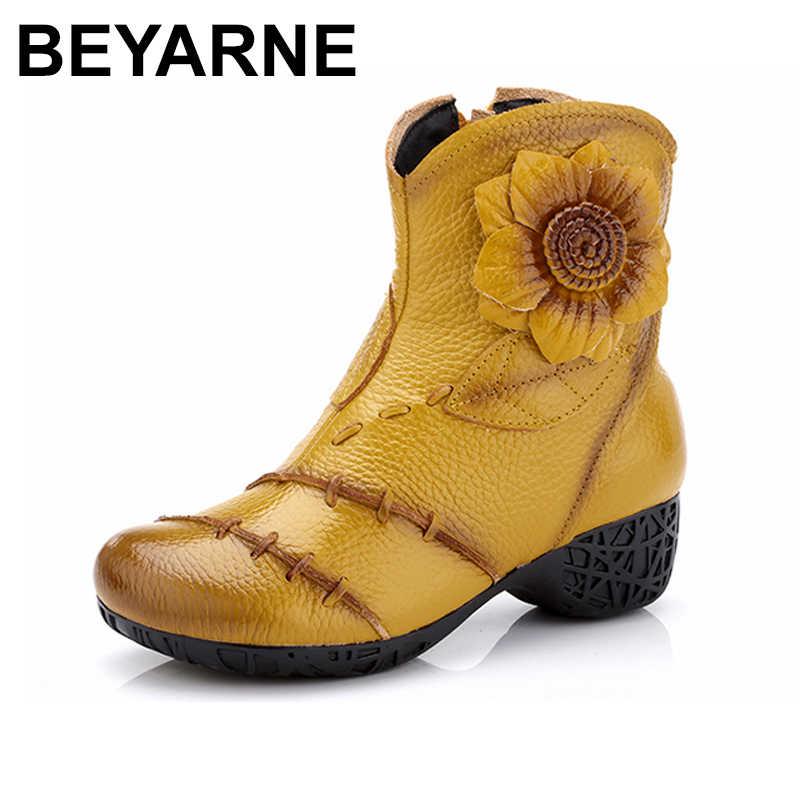 67ba1139d172 BEYARNE женские ботинки из натуральной кожи 2018 зимние модные высокое  качество мягкая ...