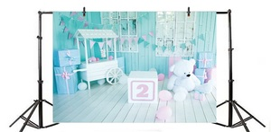 Image 4 - Laeacco 2nd Birthday Photophone Cart Candy Bar Gifts Bear Photography Backdrops Baby Portrait Photo Backgrounds Photozone Props