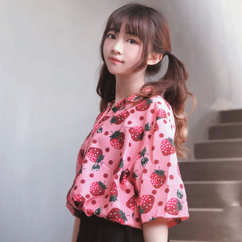 2019 New Summer Shirts Women's College Wind Cute Strawberry Shirts Loose Short Sleeve Harajuku Fruit Print Chiffon Shirts #909