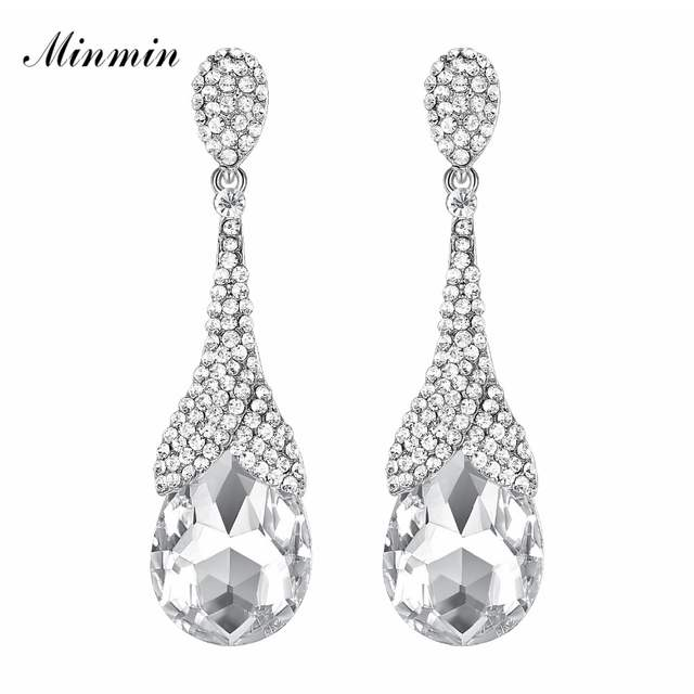 ebfb5bd4f2c13 US $2.98 40% OFF|Minmin Gold / Silver Color Crystal Big Teardrop Long  Earrings for Woman 2018 New Fashion Rhinestone Wedding Party Jewelry  EH1085-in ...