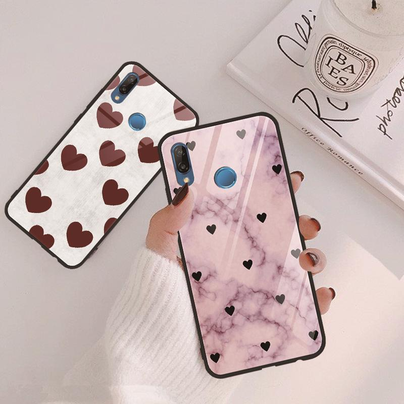 Luxury Tempered <font><b>Glass</b></font> <font><b>Case</b></font> For <font><b>Huawei</b></font> Mate 20 10 P30 P20 P Smart <font><b>Lite</b></font> Pro Y9 2019 Honor 8X 10 9 <font><b>P9</b></font> P10 Plus nova 3 4 Coque Heart image