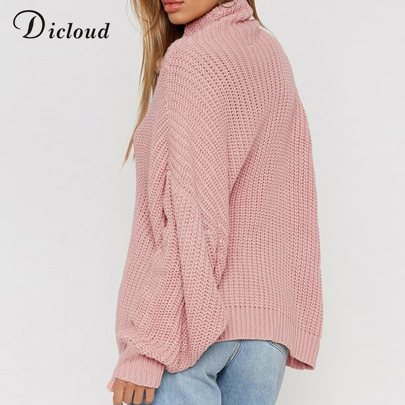 b0e6e25ba6c Dicloud women turtleneck sweater oversized pink plus size pullover autumn  2018 winter loose coarse knitted sweater ribbed female-in Pullovers from  Women s ...