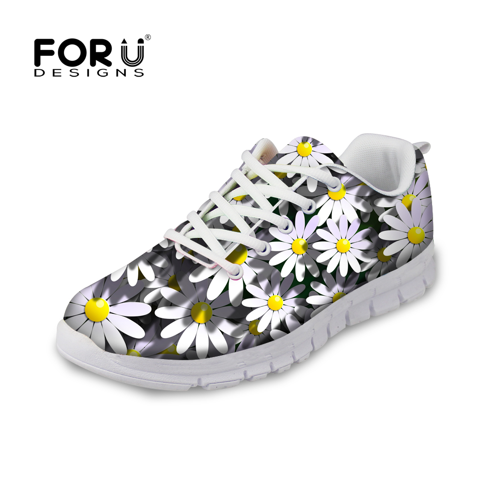 FORUDESIGNS Fashion Floral Style Women Casual Sneakers 3D Flower Printing Flats Women Mesh Shoes Zapatos Mujer Female Shoes 2018 instantarts 2018 cute cartoon cat printed women s flats shoes female summer mesh flat sneakers shoes casual shoes zapatos mujer