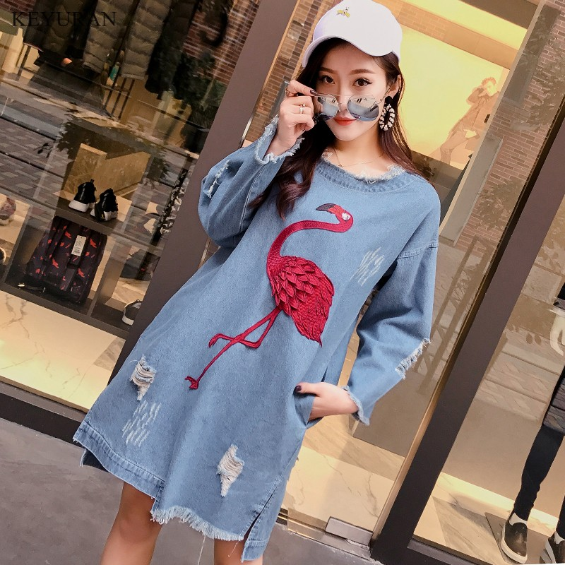 New Fashion Women Flamingo Patch Designs Hole Denim Dress 2018 Spring New Loose Frayed Jeans Blue Dresses Female Clothing L1851 ...