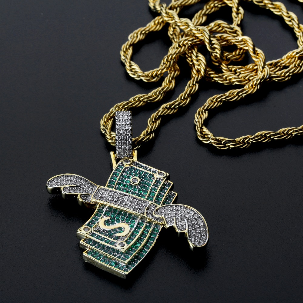 New Iced Out Flying Cash Solid Pendant Necklace Mens Personalized Hip Hop Gold Silver Color Charm Chains Jewelry Gifts-in Pendant Necklaces from Jewelry & Accessories