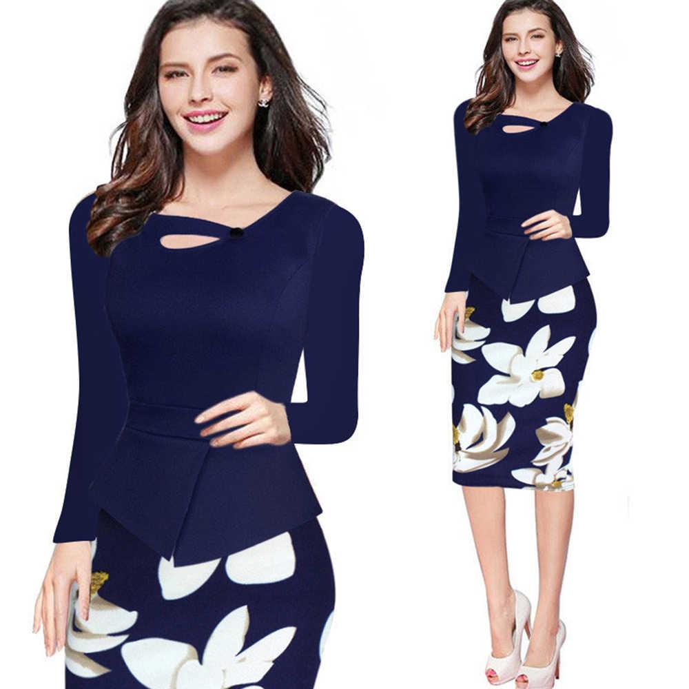 Wisalo S 5XL размера плюс, женское платье с длинным рукавом, цветочный принт, пэчворк, офисное, женское, облегающее платье, весна-осень, для работы, повседневное, карандаш, Vestido