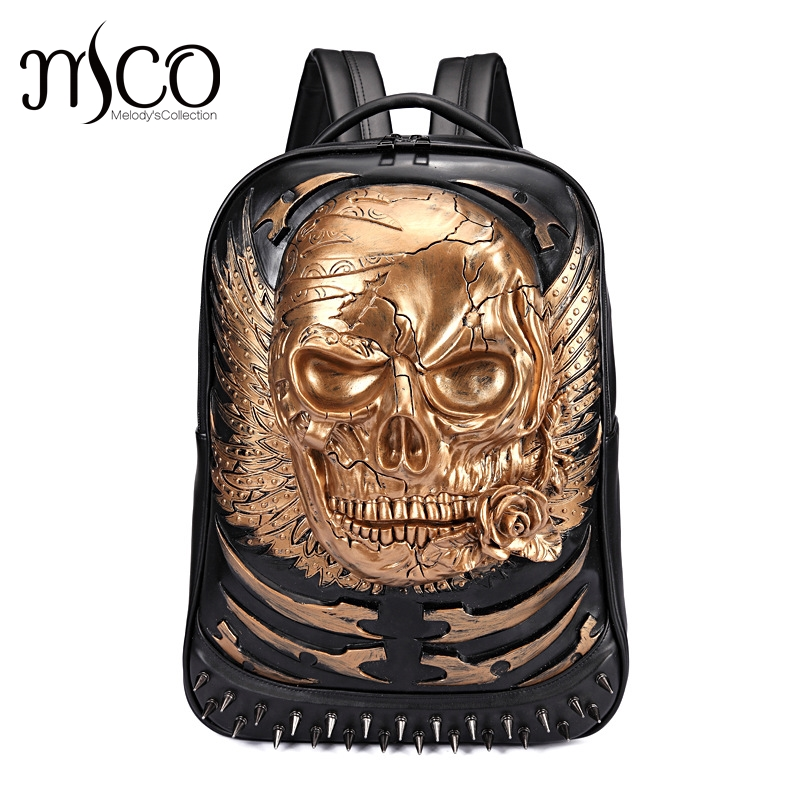 Rivet 3D Skull Skeleton Embossed Shoulder Bag Travel Punk Backpack Restore Halloween Cool Dark Gothic Carving Style Backpack 3d skeleton skull print halloween hoodie