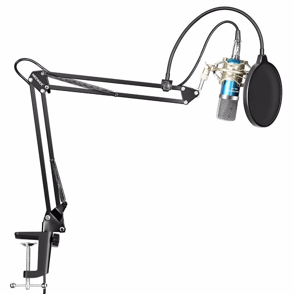 Neewer Condenser Microphone Kit NW-700 Mic NW-35 Suspension Boom Scissor Arm Stand with Mount Clamp Shock Mount (Silver) цена