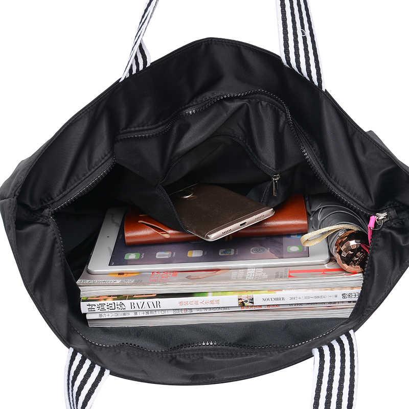 Большая вместительная сумка на плечо с буквами контрастного цвета, Черная Женская сумка в японском и южнокорейском стиле, сумка для отдыха или путешествий