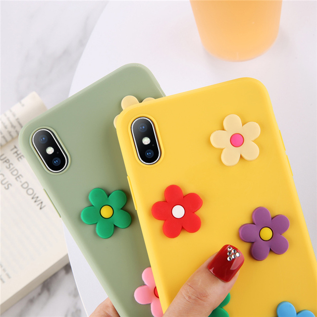Soft Silicone Phone Case with Flowers