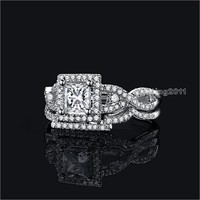 Victoria Wieck Valuable Princess Cut Topaz Diamonique 925 Sterling Silver Wedding Band Ring Set Sz 5