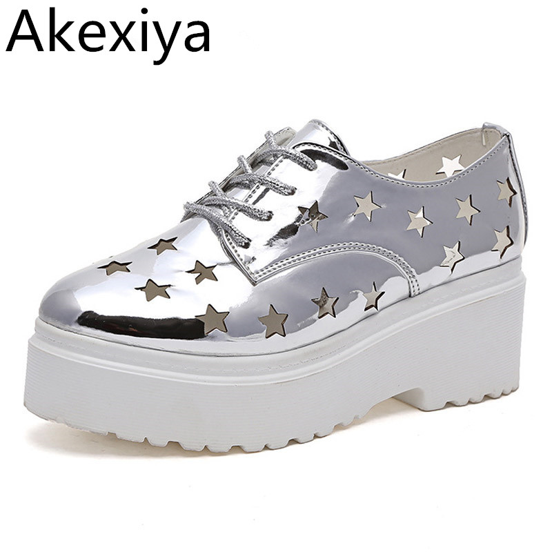 Akexiya Summer Platform Oxfords Silver Creepers Cut-Outs Platform Shoes Woman Lace-Up Flats Round Toe Casual Women Shoes phyanic 2017 gladiator sandals gold silver shoes woman summer platform wedges glitters creepers casual women shoes phy3323