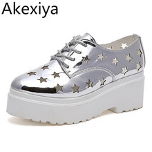 Akexiya Summer Platform Oxfords Silver Creepers Cut-Outs Platform Shoes Woman Lace-Up Flats Round Toe Casual Women Shoes