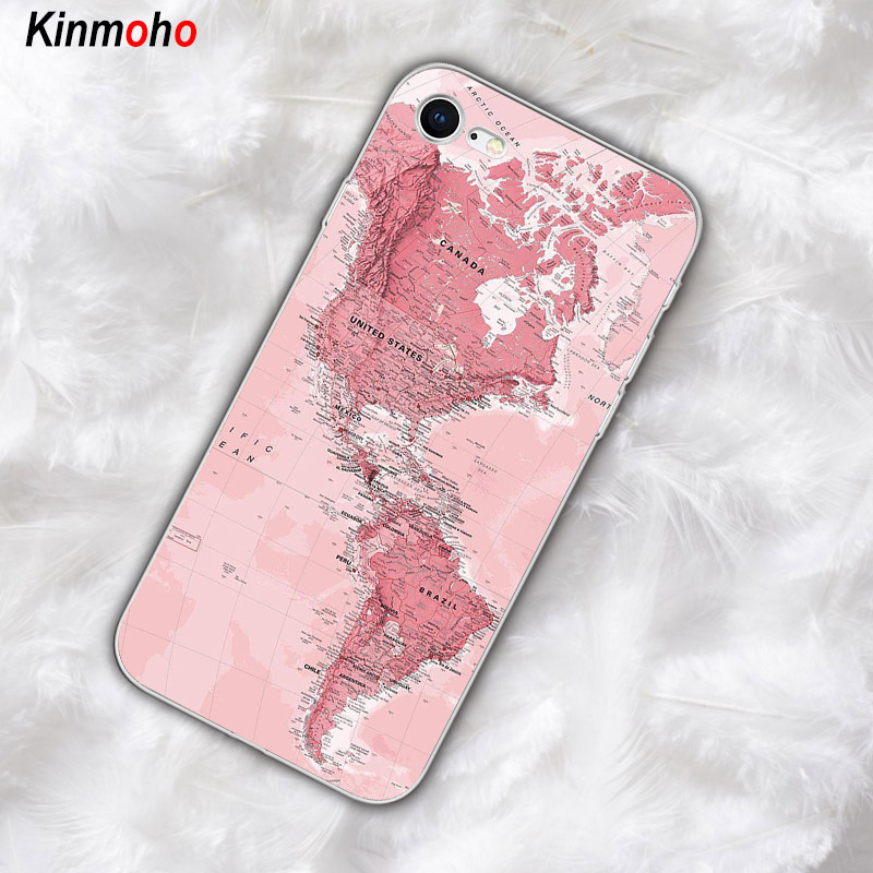 Pink world map For iPhone X XR XS MAX Case Blue European map Soft TPU Phone Cover Case For iPhone 7 6 8 6S Plus X 5s SE 5 Coque