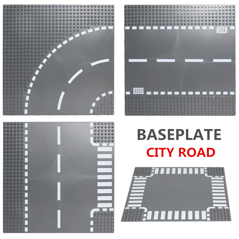 City Street Base Plate for Small Bricks Baseplate Board Compatible Legoed figures DIY Building Blocks Toys For Children legoingly city road base plate straight crossroad curve t junction street baseplate building blocks bricks toys for children