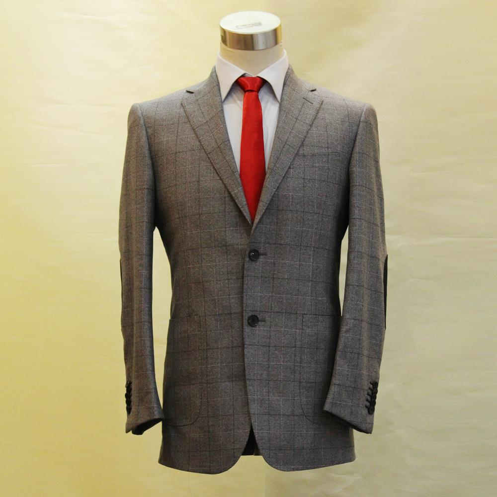 light grey heavy wool with black big window plain mans business casual suit, tailor made mans MTM wedding suit 2018 VA