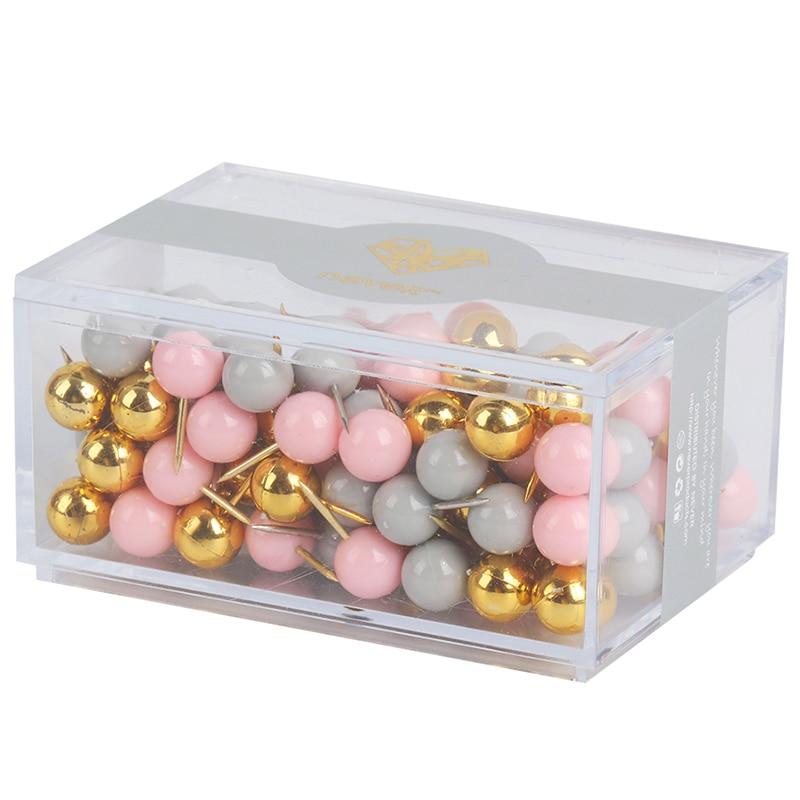 купить 120pcs Pink Series Push Pins Office Decorative Gift Stationery Colored Thumb Tack Message Cork Board Pushpin Thumbtack по цене 486.86 рублей