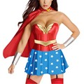 Women Sexy Strap Costume Fashion Fancy Dress With Cloak Superhero Wonder Adult Costume W208993