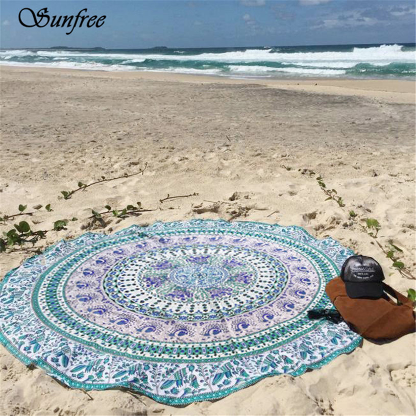 Sunfree New Hot Round Beach Pool Home Shower Towel Blanket Table Cloth Mat Free for shipping Brand New High Quality Apr 18