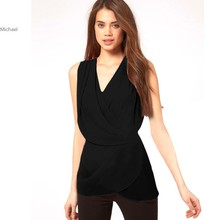 Women Tank Top V-Neck Sleeveless Sexy Irregular shirt Chiffon Solid Layered Top Blouse 25
