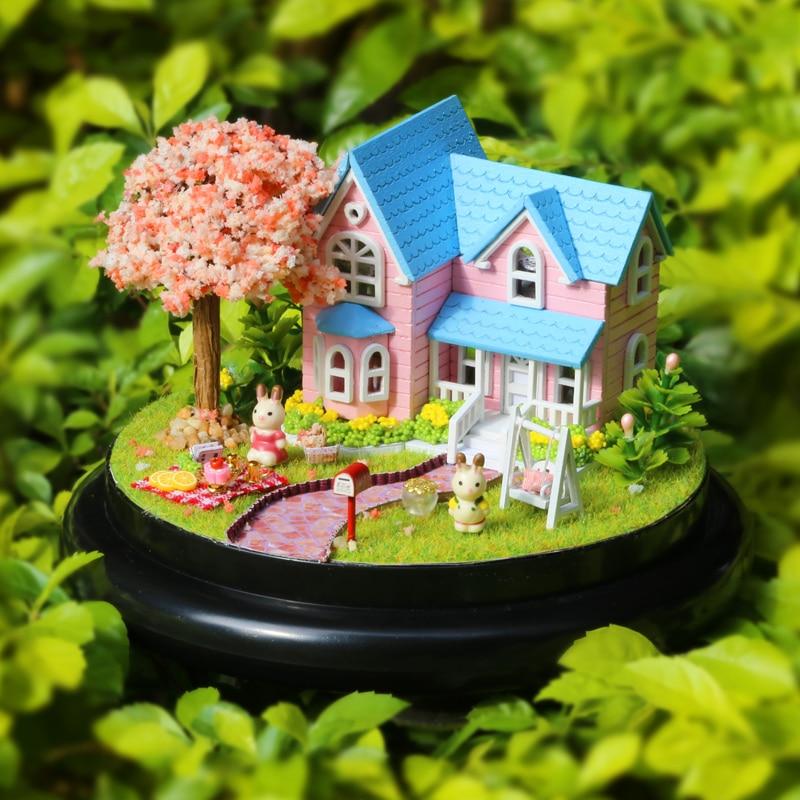 Perabot DIY Doll House Wodden Miniatura Doll Houses Furniture Kit - Anak patung dan aksesori - Foto 4