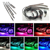 Mayitr 6pcs Colorful Motorcycle ATV Flexible RGB LED Strip Under Glow Neon Light Wireless Remote Adapter