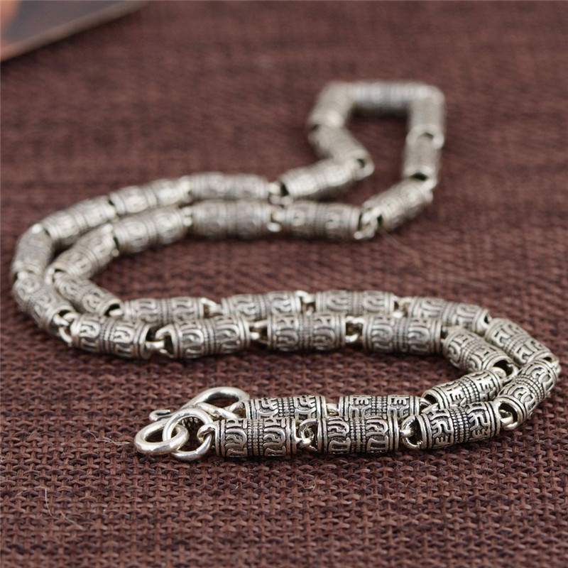 Takı ve Aksesuarları'ten Zincir Kolyeler'de V. YA 100% Gerçek Saf 925 Ayar Gümüş Kolye Erkekler için güvenli zincir Mantra retro Tay Gümüş Zincir Kolye Ücretsiz Kargo HYC01'da  Grup 2