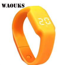 WAOUKS LED alarm clock silicone waterproof good Bracelet sports activities pedometer