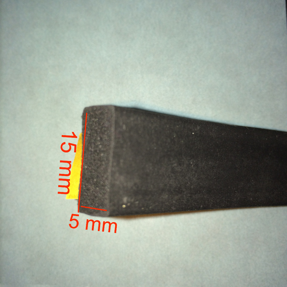 5m x 15mm x 5mm door window insulation self adhesive black rubber flat foam seal strip draught excluder