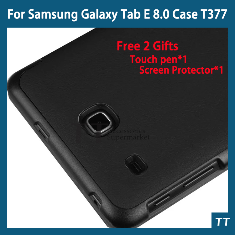For samsung galaxy tab e 8.0 case High Quality PU Leather case for Samsung galaxy tab E 8.0 T377V case cover  + free 2 gifts removable bluetooth wireless case keyboard cover for samsung galaxy tab 2 10 1 p5100 p5110 pu leather cover high quality