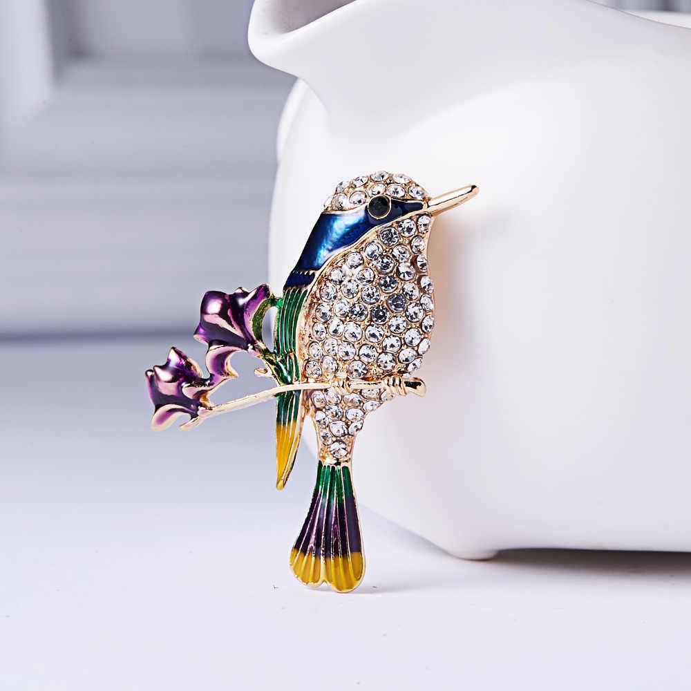 RINHOO Moda Colorata A Mano Farfalla Coppia di Uccelli Libellula Di Cristallo Spilla di Strass Spille per Le Donne Della Signora Dei Monili di Costume